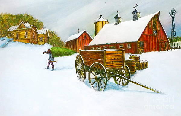 Old Illinois Barn Scene In Winter It Is A Color Lithograph Print Art Print featuring the painting Illinois Farm With Barn In Winter by Robert Birkenes