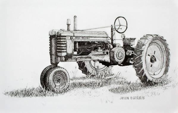 Tractor Art Print featuring the drawing John Deere Awaiting Restoration by Scott Alcorn