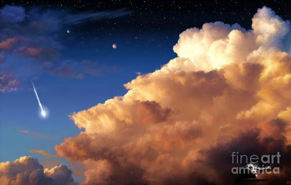 Jupiter Art Print featuring the painting Jupiter's Stormy Sunset by Tharsis Artworks