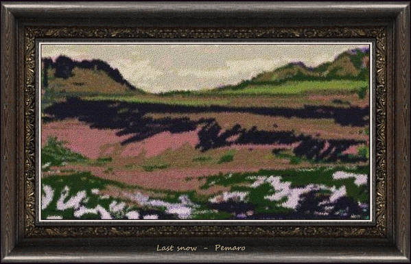 Landscape Print featuring the painting Last Snow Lsn2 by Pemaro
