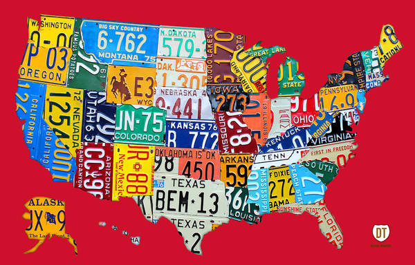 License Plate Map Art Print featuring the mixed media License Plate Map Of The United States On Bright Red by Design Turnpike