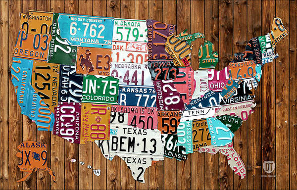 License Plate Map Art Print featuring the mixed media License Plate Map Of The United States - Warm Colors On Pine Board by Design Turnpike