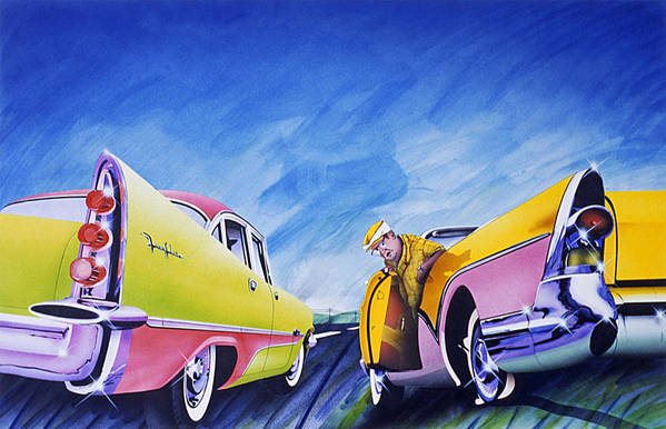 Fifties Automobiles Art Print featuring the painting Minnesota Flat by Charles Stuart