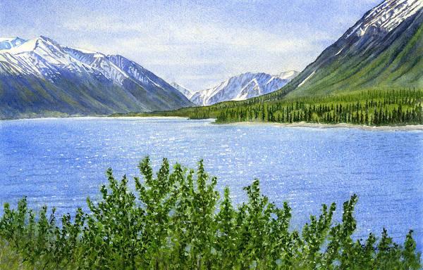 Watercolor Art Print featuring the painting Morning Sun On Kenai Lake by Sharon Freeman