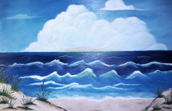 Ocean Art Print featuring the painting My Private Beach by Dwayne Barnes
