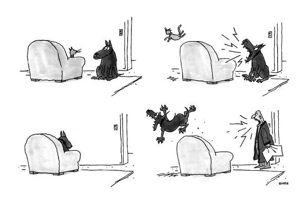 (four Panel Sequence In Which A Cat Sleeping In An Easy Chair Is Frightened Away By A Barking Dog Art Print featuring the drawing New Yorker February 22nd, 1993 by George Booth