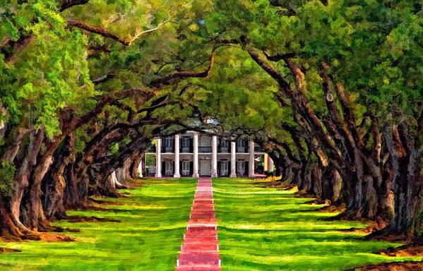 Oak Alley Plantation Art Print featuring the photograph Oak Alley Paint Version by Steve Harrington