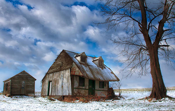 Old Barn Snowscape Art Print featuring the photograph Old Barn Winter by Sydney Tran
