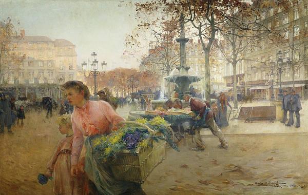 1900s Print featuring the painting Place Du Theatre Francais Paris by Eugene Galien-Laloue