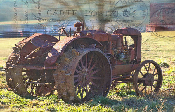 Antique Tractor Art Print featuring the photograph Postcard From The Past by Kathy Jennings