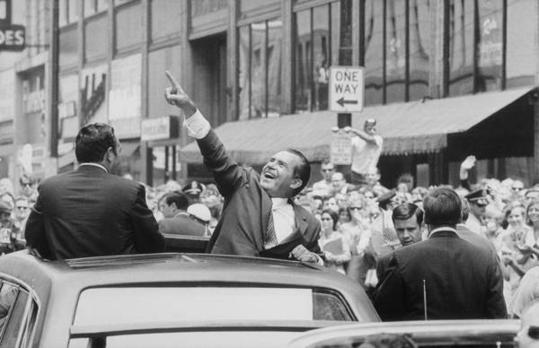 History Art Print featuring the photograph President Nixon Pointing At The Crowd by Everett