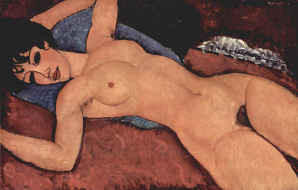 Red Female Nude Painting Art Print featuring the painting Red Female Nude Painting by Amedeo Modigliani