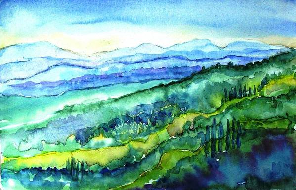 Tuscany Art Print featuring the painting Rolling Tuscan Landscape by Trudi Doyle