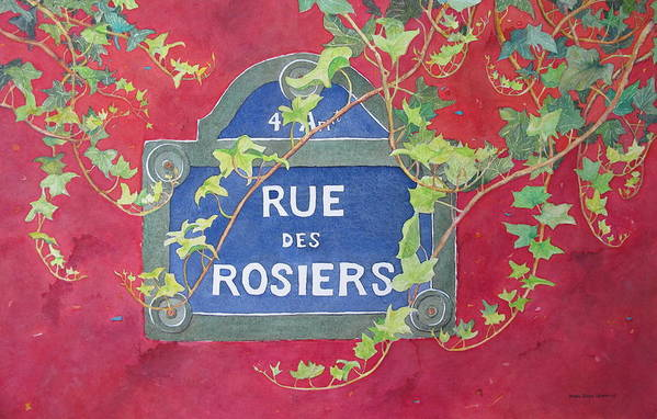 Red Wall Art Print featuring the painting Rue Des Rosiers In Paris by Mary Ellen Mueller Legault