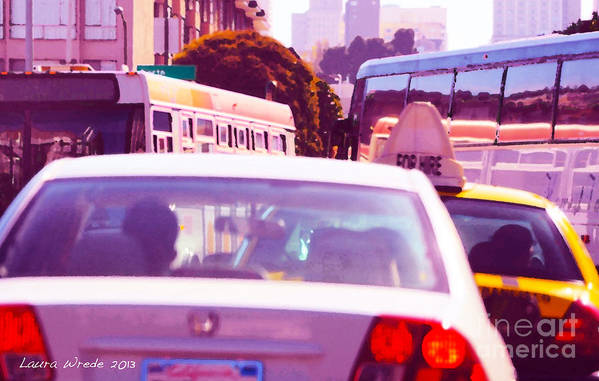 Fuchsia Art Print featuring the painting San Francisco Traffic Jam by Artist and Photographer Laura Wrede