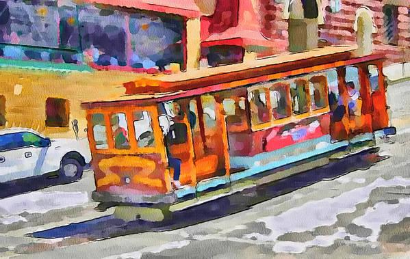 San Art Print featuring the digital art San Francisco Trams 5 by Yury Malkov