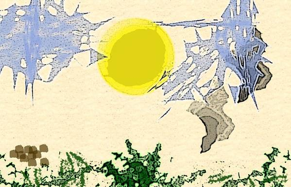Digital Landscape Art Print featuring the digital art Sky Abstract by Joel Hunt