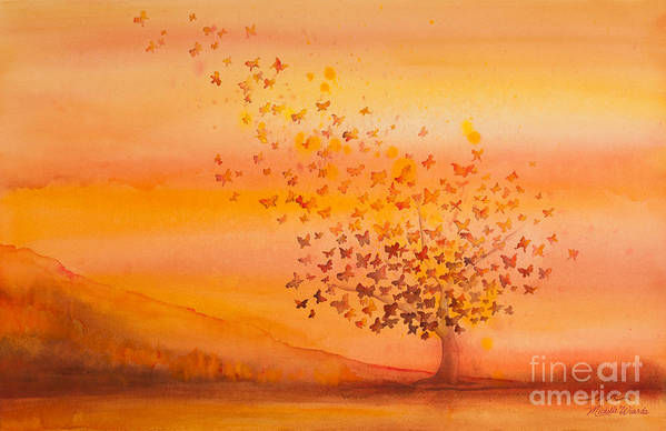 Butterfly Art Print featuring the painting Soul Freedom Watercolor Painting by Michelle Wiarda