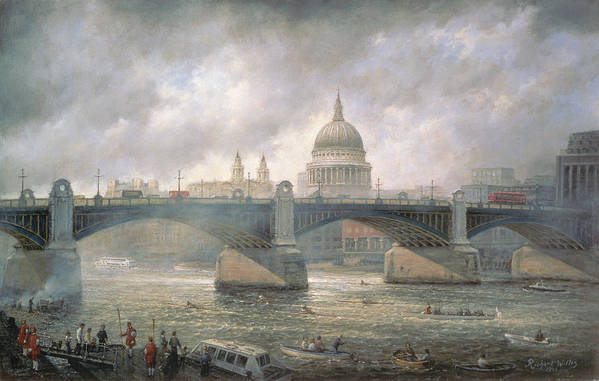 Thames Art Print featuring the painting St. Paul's Cathedral From The Southwark Bank by Richard Willis