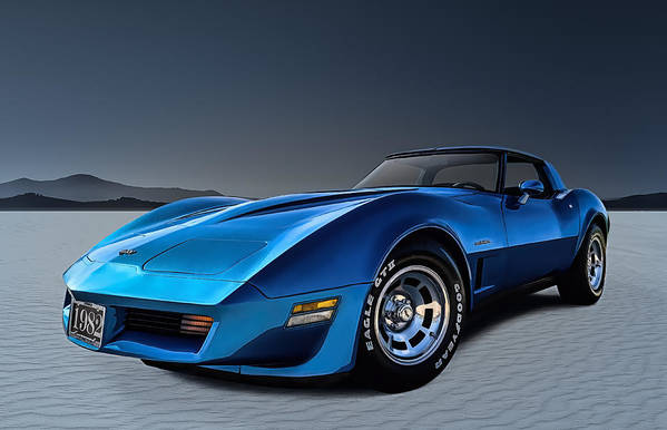 Corvette Art Print featuring the digital art Stingray Blues by Douglas Pittman