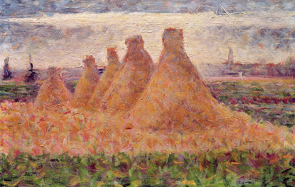 Stacks Art Print featuring the painting Straw Stacks by Georges Pierre Seurat