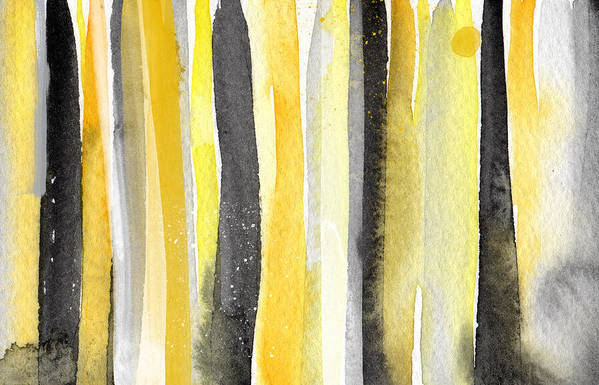 Abstract Yellow And Grey Painting Art Print featuring the painting Sun And Shadows- Abstract Painting by Linda Woods