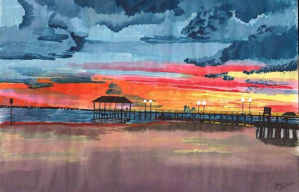 Lake Art Print featuring the painting Sunset On Lake Jackson by Beverly Marshall