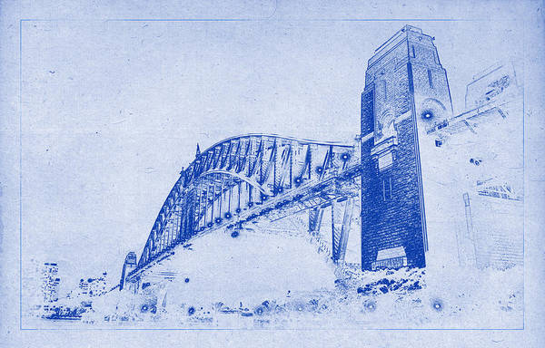 Sydney harbour bridge blueprint art print by kaleidoscopik photography sydney harbour bridge art print featuring the photograph sydney harbour bridge blueprint by kaleidoscopik photography malvernweather Images