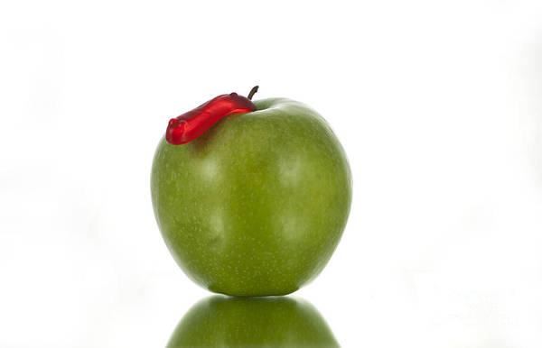Apple Art Print featuring the photograph The Apple And The Worm by Juli Scalzi
