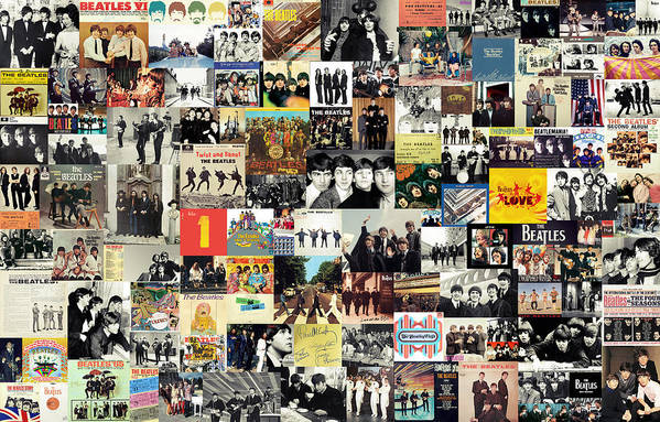 The Beatles Print featuring the mixed media The Beatles Collage by Taylan Apukovska