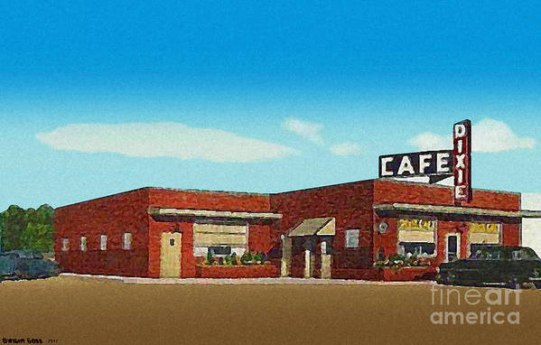 Cafes Art Print featuring the painting The Dixie Cafe In Selmer Tn Around 1950 by Dwight Goss
