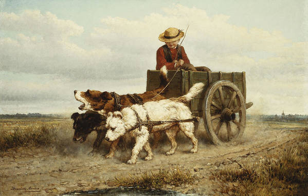 Academic Art Print featuring the painting The Dog Cart by Henriette Ronner-Knip