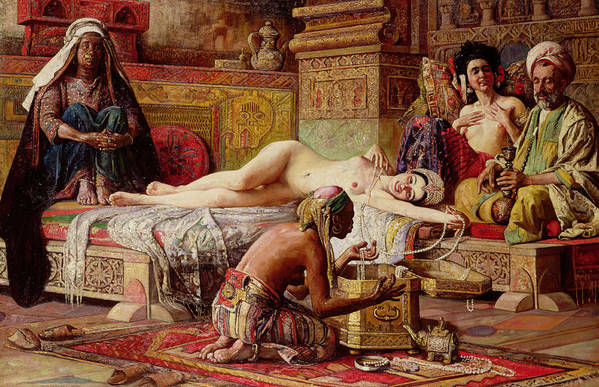 Nude Art Print featuring the painting The Favorite Of The Harem by Gyula Tornai