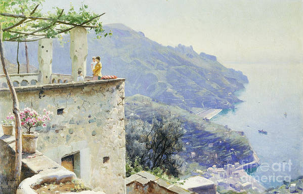 1920s Print featuring the painting The Ravello Coastline by Peder Monsted