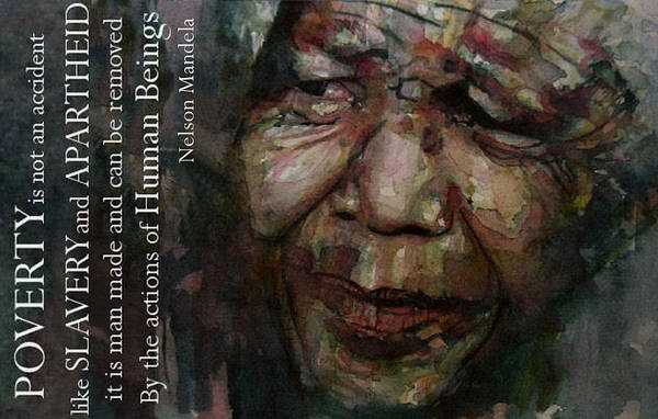 Nelson Mandela Art Print featuring the painting The World Holds It's Breathe by Paul Lovering