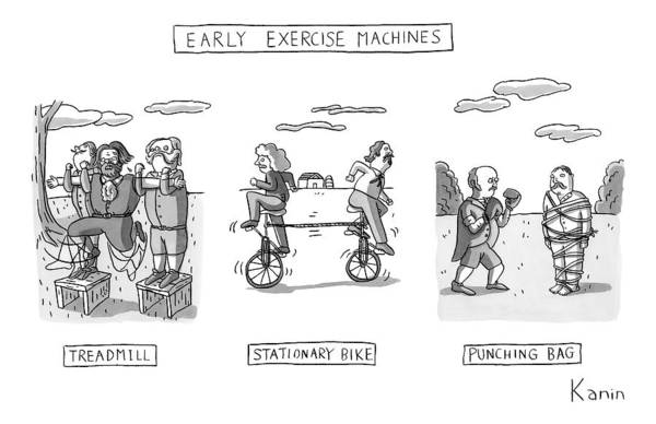 Stationary Bikepunching Bag Art Print featuring the drawing Title: Early Exercise Machines. Three Early by Zachary Kanin
