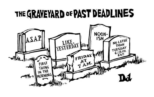 Noon-ish Art Print featuring the drawing Title: Graveyard Of Past Deadlines. A Graveyard by Drew Dernavich