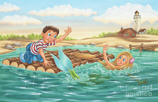 Mermaid Art Print featuring the painting Until Next Summer by Phil Wilson