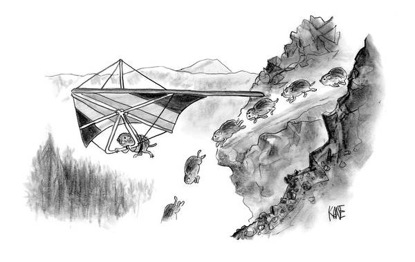 Death Sports Lemmings (lemming Avoids Death By Hang-gliding Off Of Cliff. ) 120271 Jkn John Kane Art Print featuring the drawing New Yorker January 3rd, 2005 by John Kane