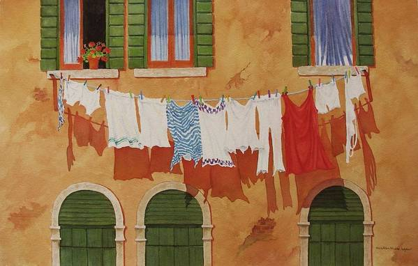 Venice Art Print featuring the painting Venetian Washday by Mary Ellen Mueller Legault