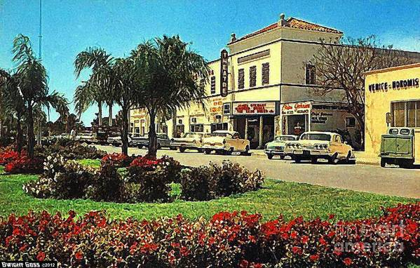 Theaters Art Print featuring the painting Venice Theatre In Venice Fl 1950's by Dwight Goss