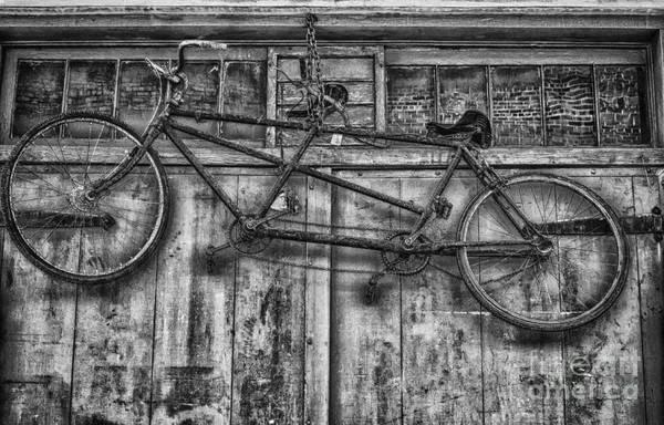 Bicycle Art Print featuring the photograph Vintage Bicycle Built For Two In Black And White by Kathleen K Parker