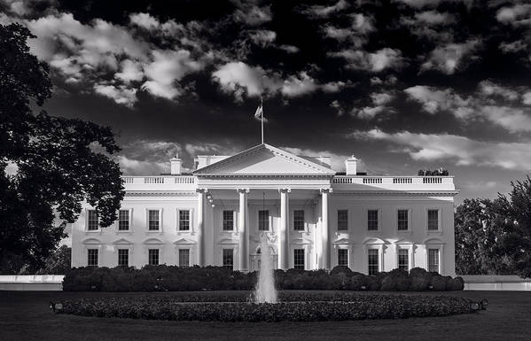 White Art Print featuring the photograph White House Sunrise B W by Steve Gadomski