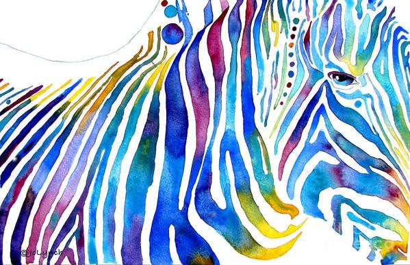 Zebra Art Print featuring the painting Zebra Stripes by Jo Lynch