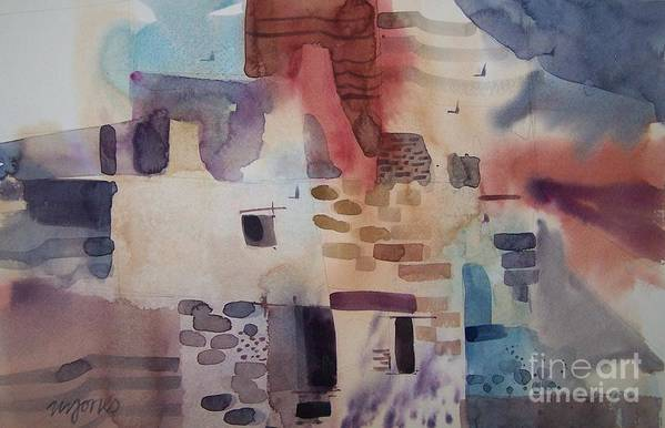 Mesa Verde Art Print featuring the painting Chaco Canyon by Micheal Jones