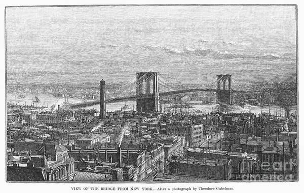 1883 Art Print featuring the photograph Brooklyn Bridge, 1883 by Granger