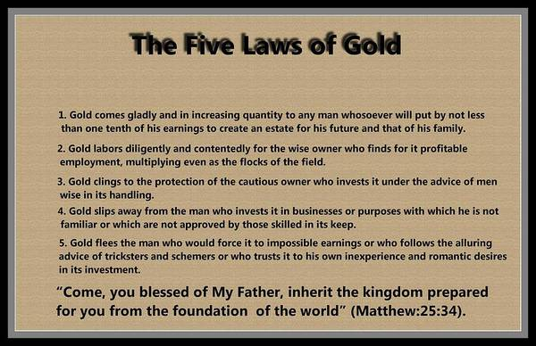 5 Laws Of Gold Art Print featuring the digital art 5 Laws Of Gold by Ricky Jarnagin