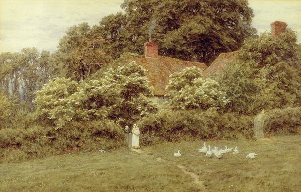 Mother And Child; Gate;rural Scene; Country; Countryside; Home; House; Path; Picturesque ;idyllic; Female; Friends; Geese; Female Art Print featuring the painting A Cottage At Farringford Isle Of Wight by Helen Allingham
