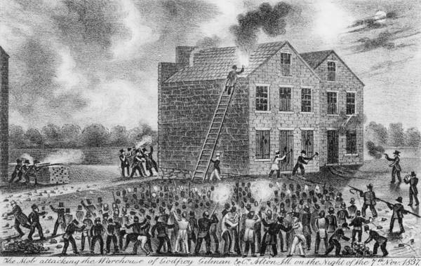 History Art Print featuring the photograph A Pro-slavery Mob Burning by Everett