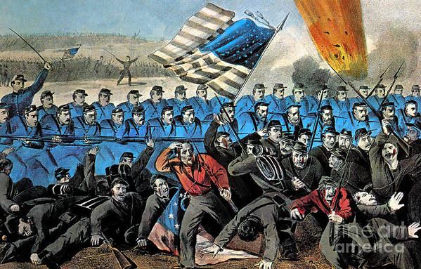 History Print featuring the photograph American Civil War, Battle Of Malvern by Photo Researchers